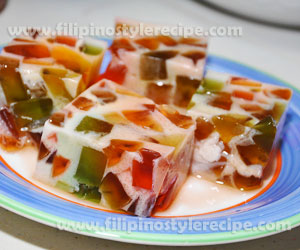 Gelatin dessert or jello dessert filipino style recipe 1 box strawberry flavored gelatin forumfinder