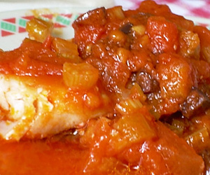 Spicy Fish Fillet with Tomatoes and Olives