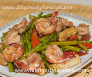 Stir Fried Shrimps with Asparagus and Baby Corn