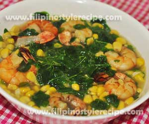 Malunggay and Corn Soup with Shrimps