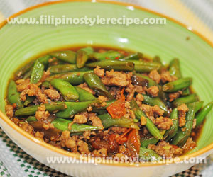 Sauteed Ground Pork and Beans in Oyster Sauce