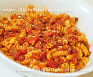 400 Grams Fusilli Pasta Or Any Pasta 4 Cloves Garlic 1 Medium Onion Chopped 6 Tomatoes Diced 1 Small Pack Tomato Paste 1 Bell Pepper Diced Optional