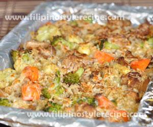 Baked Cheesy Chicken Rice Mixed