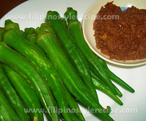 Steamed Okra with Shrimp Paste